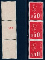 FR 1971 Marianne De Bequet 50c  3 Ex.de  Roulette Du N°1664  Dont Un Avec  N° Rouge Au Verso ** MNH - Francobolli In Bobina