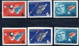 SOVIET UNION 1964 Cosmonauts Day Perforated And Imperforate Sets MNH / **.  Michel 2895-97A-B - Nuevos