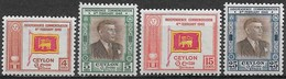 Ceylon (Sri Lanka) 1949. Scott #300-3 (M) Ceylon Independence, Flag & D. S. Senanayake ** Complet Set - Sri Lanka (Ceylon) (1948-...)