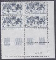 TAAF P. A.  N° 129 XX  Les Copépodes Pélagiques,en Bloc De 4 Coin Daté Du 4.10.93 à 60 % De La Faciale, Sans Cha., TB - Unused Stamps