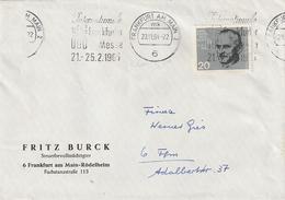 """Bundesrepublik Deutschland / 1964 / Mi. 435 EF Auf Brief Masch.-Stempel Frankfurt """"Messe"""" (4055) - Briefe U. Dokumente"""