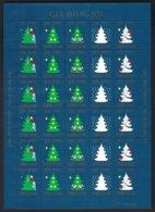 FEROE Islands. 1990. CHRISTMAS -Noël,feuille Complète 30 Vignettes Motifs: Sapins Stylisés ** - Vignettes De Fantaisie
