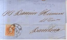 Año 1860 Edifil 52 Isabel II Carta Matasellos Rueda De Carreta 15 Zaragoza Membrete De Urzainqui Y Sobrino - 1850-68 Reino: Isabel II