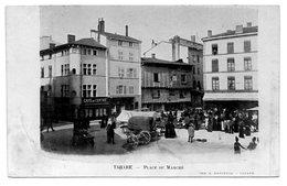 CPA 69 - TARARE - PLACE DU MARCHE (CARTE PUBLICITAIRE) - Tarare
