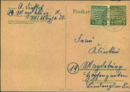 """1946, 15.4.: 5 Pfg. Wappen Als Bildgleiche Zusatzfrankatur Auf Ortskarte """"MAGDEBURG-NEUSTADT"""" - Sowjetische Zone (SBZ)"""