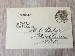 K8 Deutsches Reich Ganzsache Stationery Entier Postal DRP 2 Von Ebingen Nach Kirchheim Mit Zudruck Von Stuttgart - Allemagne