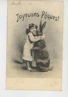 """ENFANTS - LITTLE GIRL - MAEDCHEN - RABBIT - Jolie Carte Fantaisie Fillette Et Lapin De """"Joyeuses Pâques """" - Ostern"""