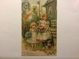 Carte Gaufrées — Enfants Au Gâteau Anniversaire Et Chat - Chats