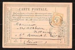 France Précurseur CP Série 1443 De Jillet 1876 Posté à Sully Loiret Pour Saint Benoist Sur Loire - 1871-1875 Ceres