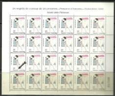 ANDORRA- HOJA ENTERA 24 SELLOS VARIEDAD   PUNTO ROJO  EN LA ESQUINA DEL CUADRO GRIS ..(C.H.C.01.16) - Nuevos