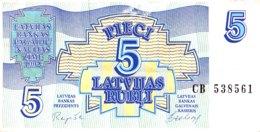 Latvia 5 Rubli, P-37 (1992) - Very Fine - Lettonie