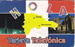 TARJETA DE REPUBLICA DOMINICANA DE HOLA $30  (con Marcas) - Dominicana