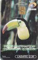 TARJETA DE GUATEMALA DE UN TUCAN (BIRD-PAJARO) (LADATEL) - Guatemala