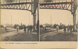 TOURS  La Gare - Les Voies D'arrivée  (vue Stéréoscopique) - Tours