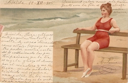 """Ldy Bather. Sitting On Bench At The Beach"" Nice Vintage German Postcard - Frauen"