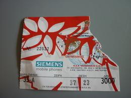 Olympiakos-Liverpool UEFA CUP Football Match Ticket Stub 23/11/2000 (Siemens Smirnoff Citroen) - Tickets D'entrée