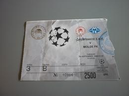 Olympiakos-Molde FK UEFA Champions League Football Match Ticket Stub 28/9/1999 (Amstel Ford McDonald's) - Tickets D'entrée