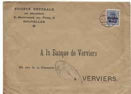Lettre De Bruxelles Vers Verviers  Inhalt Geprüft Société Générale - Weltkrieg 1914-18