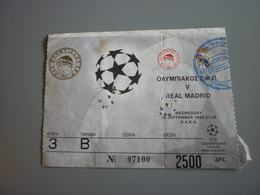 Olympiakos-Real Madrid UEFA Champions League Football Match Ticket Stub 15/9/1999 (Amstel Ford McDonald's) - Tickets D'entrée