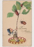 Cpa Fantaisie / Petit Garçon Secourant Une Branche Avec 3 Hannetons /Bonne Année - Insectes