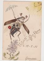 Cpa Fantaisie / Hanneton Humanisé  / Un Salut De San Remo - Insectes