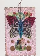 Cpa Fantaisie Dentelée Avec Chromo Et Tissu Velours /Papillon , Angelot , Appareil De Photographe - Insectes