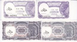 EGYPT 5 10 PT. PIASTRES 1971 P-182g 183g SIG/LOTFY LOT 2 SETS DIFFERENT COLORS  UNC */* - Egypt