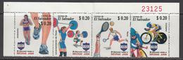 2008 El Salvador Beijing Olympics Cycling Tennis  Complete Strip Of 4  MNH - El Salvador