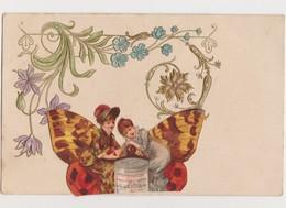 Cpa Fantaisie Gaufrée Avec Découpis / Papillon , Fleurs , Jeunes Femmes , Boîte Liebig - Insetti