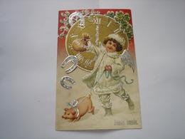 TRES BELLE CPA FANTAISIE !! BONNE ANNEE ( FILLETTE EN ANGE AVEC COCHON ET FER A CHEVAL ) - New Year