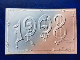 """Cpa--gaufrée-""""année 1908""""--(my Ref 350)-1907-petit Cochon - New Year"""