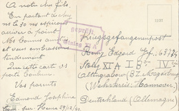 "WO 2  STALAG : PK  Van COUR-SUR-HEURE  29.12.40 Naar ""GEPRÜFT / 7 / STALAG XI A"" (Altengrabau) - WW II"