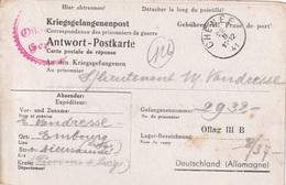 """WO 2  OFLAG : Antwort PK Van EMBOURG  """"CHENEE 22.II.41""""  Naar """" OFLAG  III B  / Geprüft"""" - WW II"""