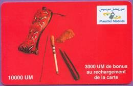 Telecarte °_ Mauritanie-épreuve Recharge Mauritel Mobiles . SPSN . 10000UM Bonus 3000 - R/V - Mauritanië
