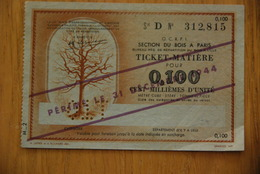 Rationnement Ticket Billet Matiere Bois - Historische Documenten