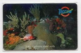 ANTILLES NEERLANDAISES SAINT EUSTACHE REF MV CARDS STAT C7 FOND MARIN Année 2001 - Antillas (Nerlandesas)
