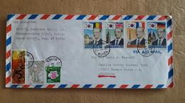 Enveloppe Coréenne Envoyée En Argentine Avec Des Drapeaux Et Autres Timbres - Sobres