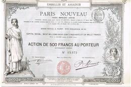 Titre Ancien - Paris Nouveau - Société Immobilière Anonyme - Titre De 1885 - Déco - Non Classés
