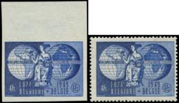 BELGIQUE Poste ** - 812 Dentelé + Non Dentelé (ND = (*)), Bdf (numéroté): 75° An UPU - Belgique