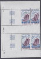 """TAAF P.A. N° 97 XX Voilier """"J. B. Charco"""" En Bloc De 4 Coin Daté Du 27 . 8 . 86 . à 60 % De La Faciale, Ss Ch, TB - Unused Stamps"""