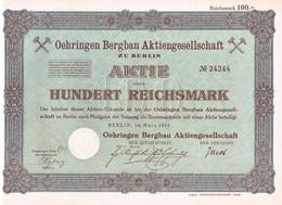 Titre Ancien - Oehringen Bergbau Aktiengesellschaft - Titre De 1925 - - Mines