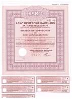 Titre Ancien - ASKO Deutsche Kaufhaus Aktiengesellschaft - Titre De 1986 - Non Classés