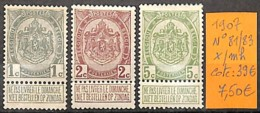 D - [830585]TB//*/Mh-c:39e-Belgique 1907 - N° 81/83,  Armoiries - 1893-1907 Armarios