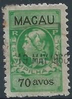 MACAU REVENUE STAMPS 1940'S 70 AVOS LOCAL PRINT FINE USED - Autres