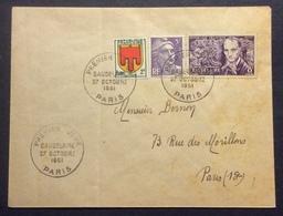 26-3 Baudelaire 908 Paris 27/10/1951 FDC Premier Jour Lettre Verso S.N.C.F. - FDC