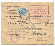 TAXE 2FR SEUL FECAMP 17.3.1945 LETTRE SIMPLE TAXE TAXE DUE 1FR50 RAYEE 2 - Portomarken