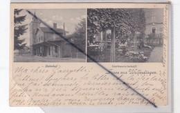 Luxembourg : Gruss Aus Walferdingen / Bahnof - Gartenvirtschaft (carte Précurseur De 1900) - Cartoline
