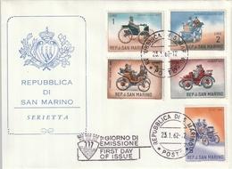"FDC De ""Rep. Di San Marino"" Du 23-01-1962, ""Voitures Anciennes : FIAT, Daimler, Peugeot, Panhar, Duryea"" - FDC"