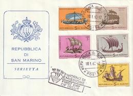 """FDC De """"Rep. Di San Marino"""" Du 10-01-1963, """"Voiliers Antiques : Drakkar, Caravelle"""" - FDC"""
