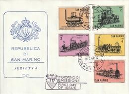 """FDC De """"Rep. Di San Marino"""" Du 29-08-1964, """"Locomotives Anciennes à Vapeur"""" - FDC"""